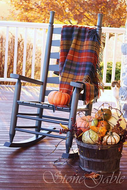 Buchanan Antique Tartan Plaid Blanket in fall colors over a porch rocker. Love the fall display of gourds in the weathered bushel basket!: Buchanan Antique Tartan Plaid Blanket in fall colors over a porch rocker. Love the fall display of gourds in the weathered bushel basket!