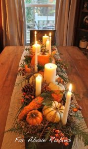 Build a long wood box, stain and add spanish moss, pumpkins, pinecones, candles, etc.. This is beautiful from Far Above Rubies: Thanksgiving preview...: Build a long wood box, stain and add spanish moss, pumpkins, pinecones, candles, etc.. This is beautiful from Far Above Rubies: Thanksgiving preview...