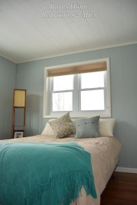 Bright Light Blue Painted Wood Paneling Guest Bedroom