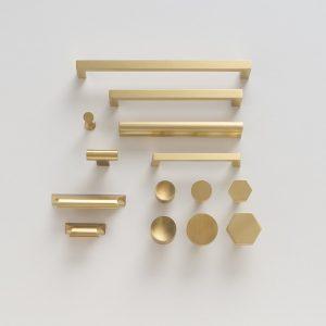 Sleek Modern Brass Cabinetry Hardware