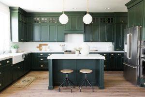 Large Kitchen Dark Green Kitchen Cabinets