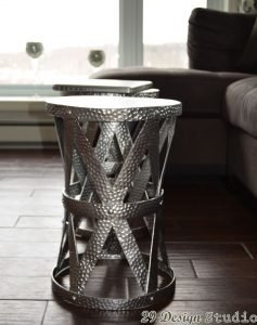 Round Silver Side Tables 2 tables as coffee table