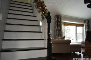 Black painted stair tread White painted stair risers