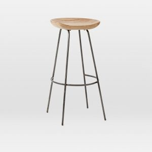 Wood Metal saddle bar stools with 4 legs