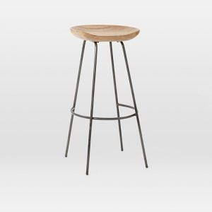 Wood Metal saddle bar stools with 4 legs
