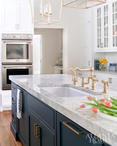 Thick square edge marble countertop Blue Island with brass hardware