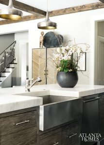 Rustic Gray Wood Kitchen Cabinets with thick marble countertop stainless steel apron front farmhouse sink