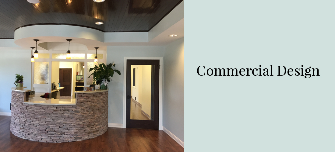 Front Reception Desk Sandstone Veneer Dark Wood Tray Ceiling Light Blue Walls Dark Wood Doors White Door Trim