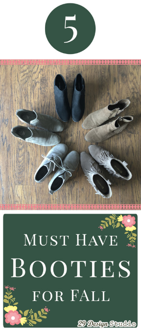 Circle of Boots in different colors with floral accents and text