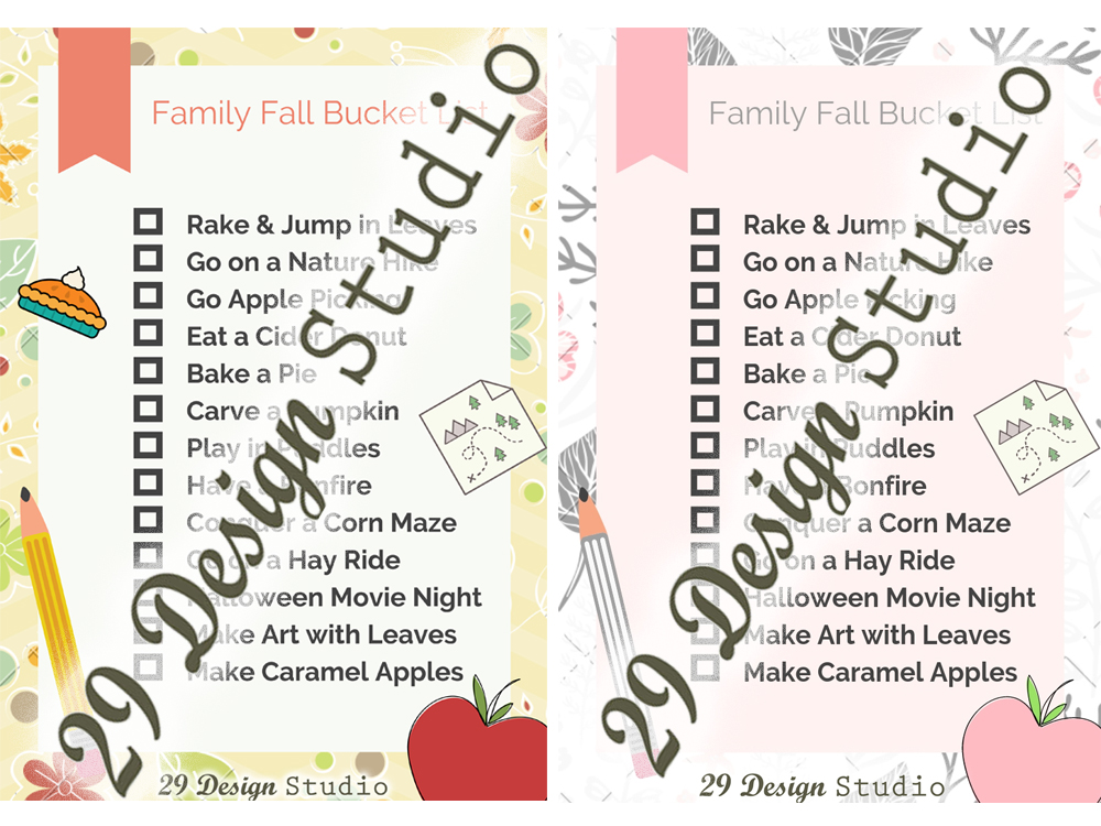 Fall Family activities checklist free printable