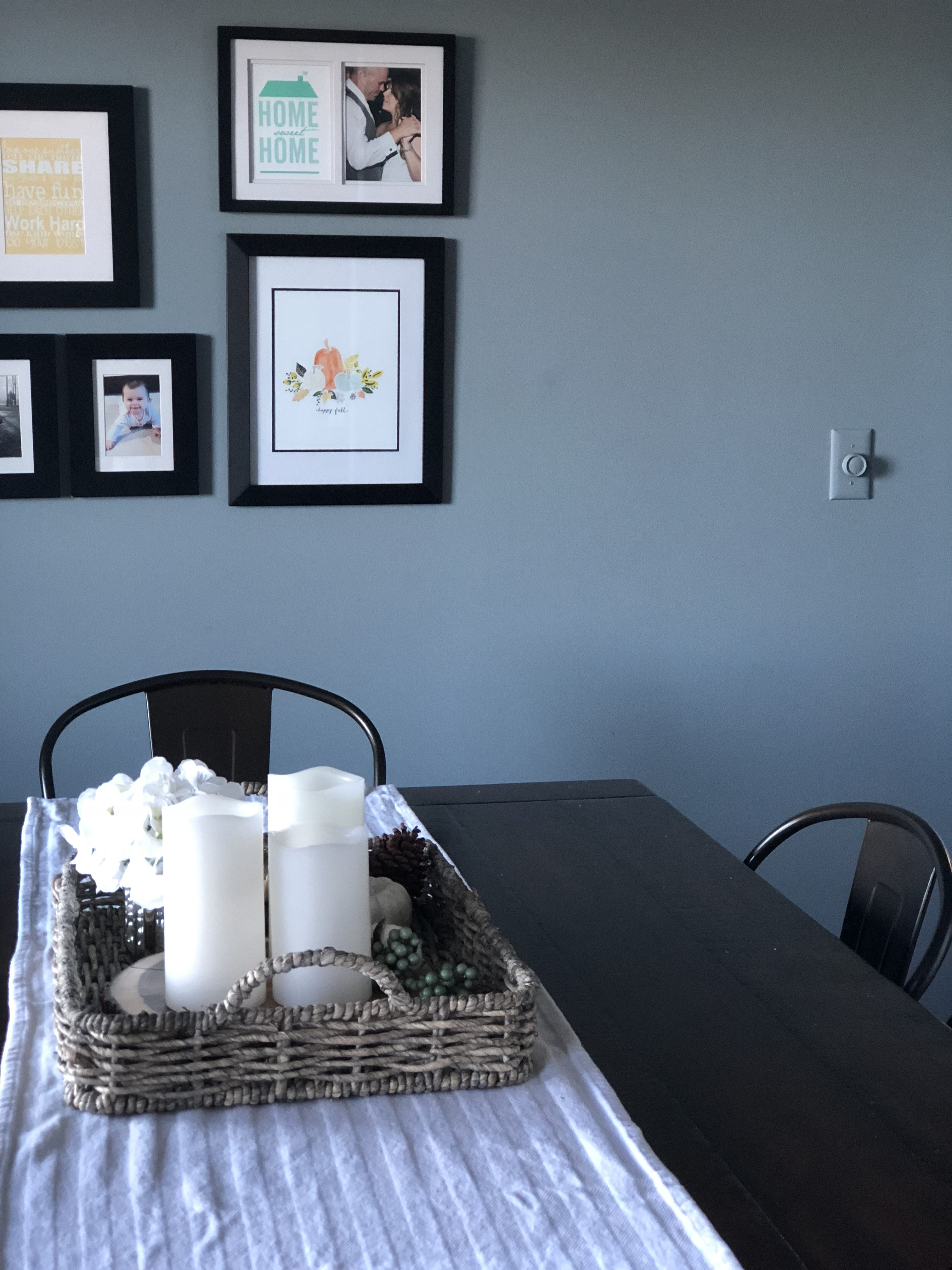 Fall Neutral Dining Room Woven Gray wash tray with pillar candles and pumpkin printable art