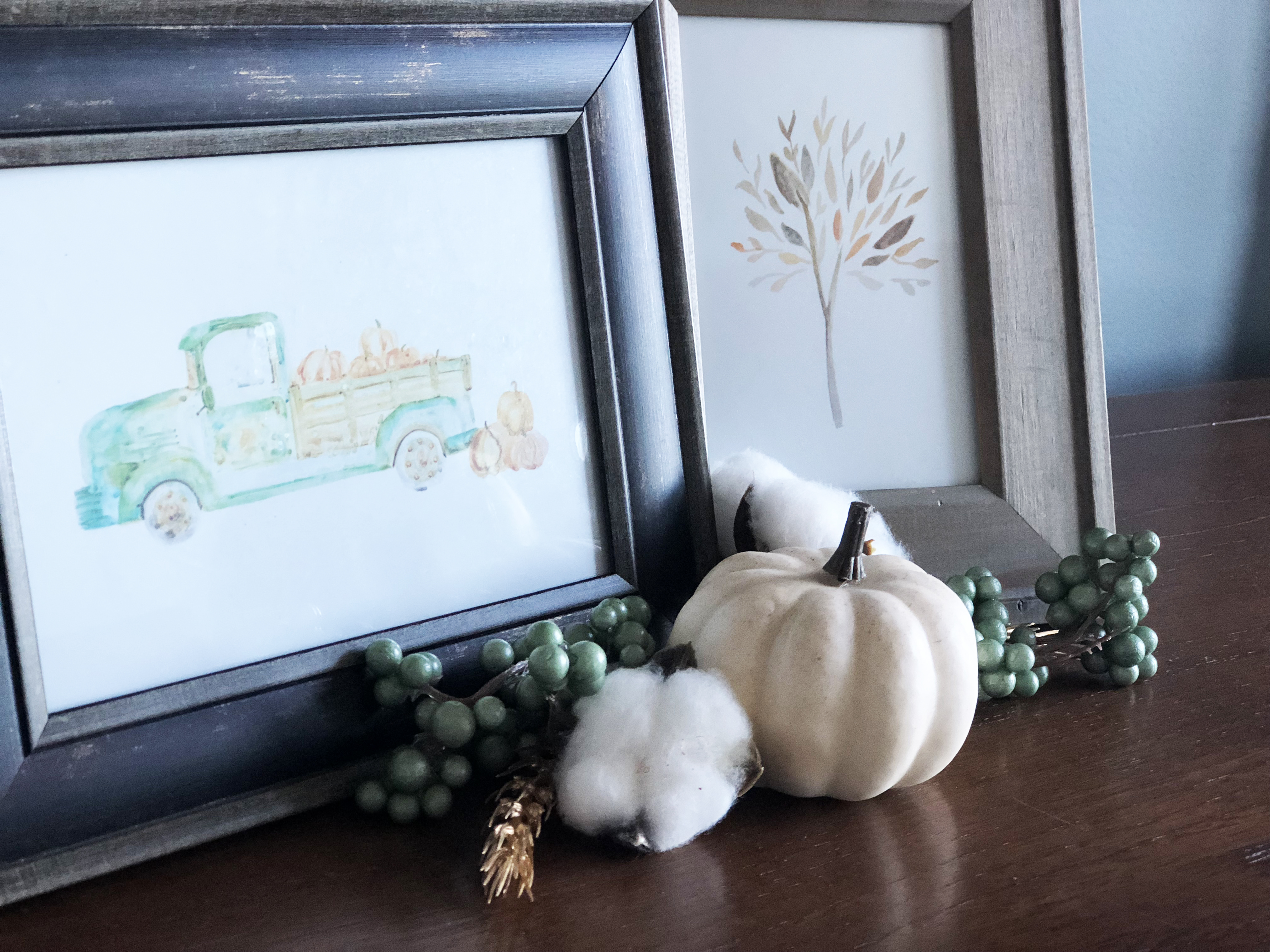 Fall Framed Art printables with white pumpkin