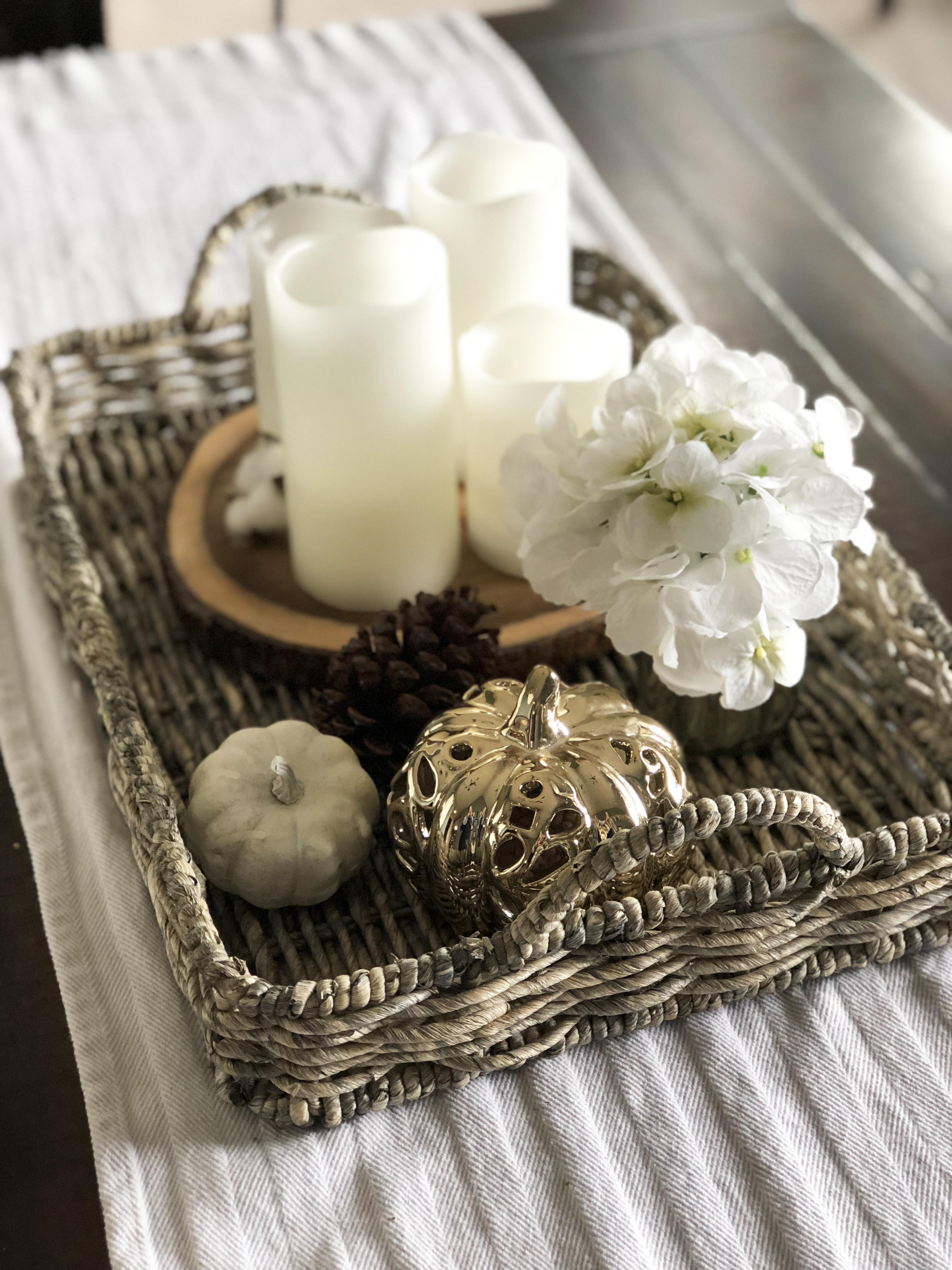 Woven Tray with White Pillar Candles White Hydrangeas