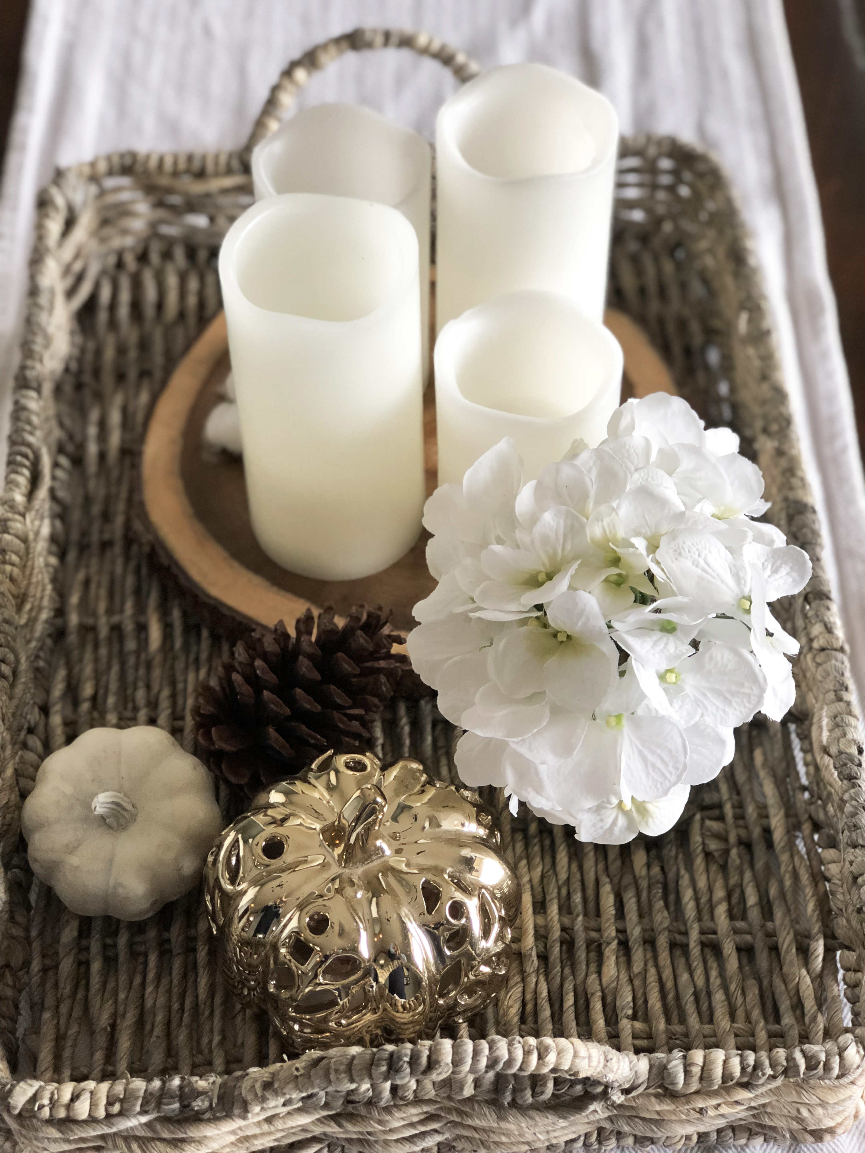 Fall Woven Tray with White and Gold pumpkins and pillar candles white hydrangeas