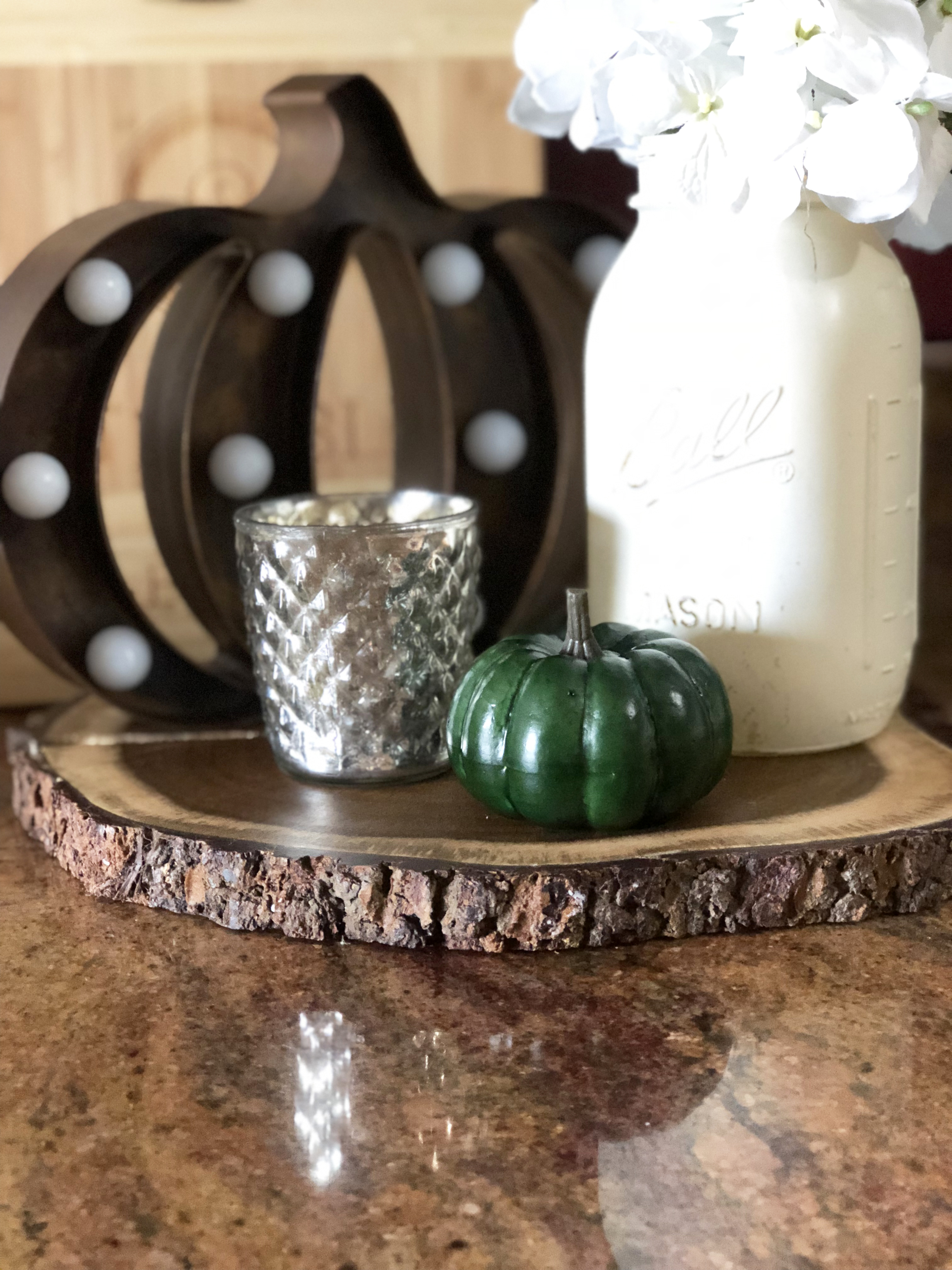 Fall Kitchen Decor Vignette white ball jar light-up pumpkin mercury votive holder and small green pumpkin