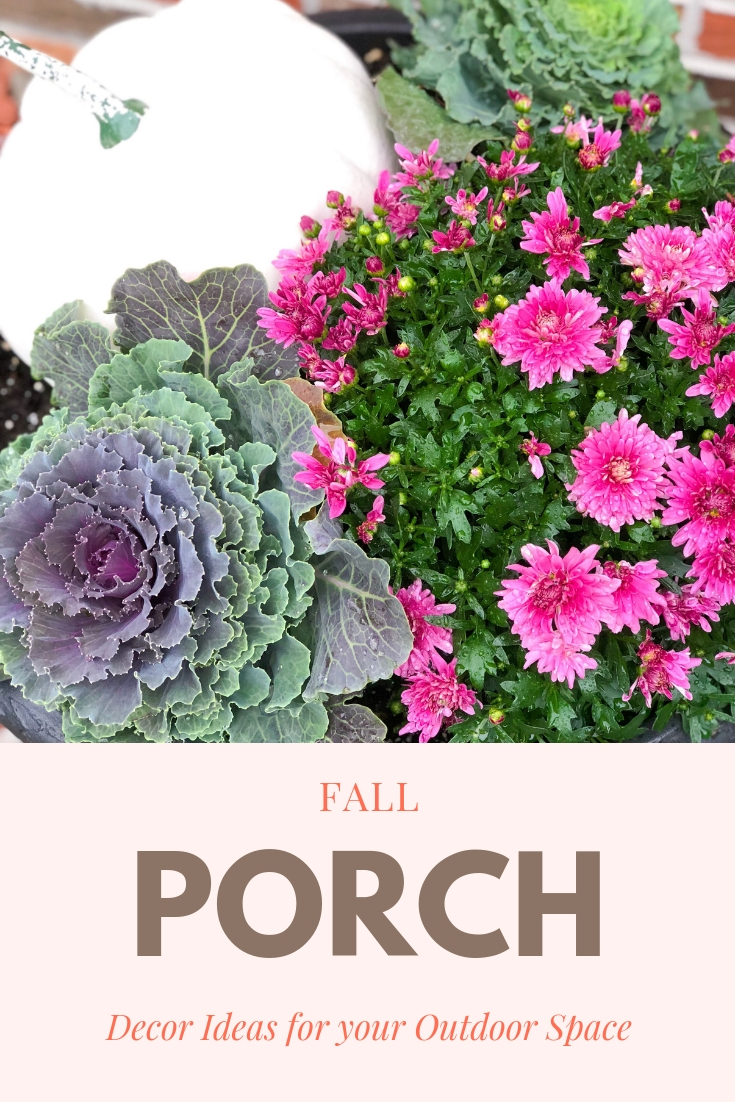 Fall Container Gardens with Pink Mums, white pumpkins, kale and cabbage