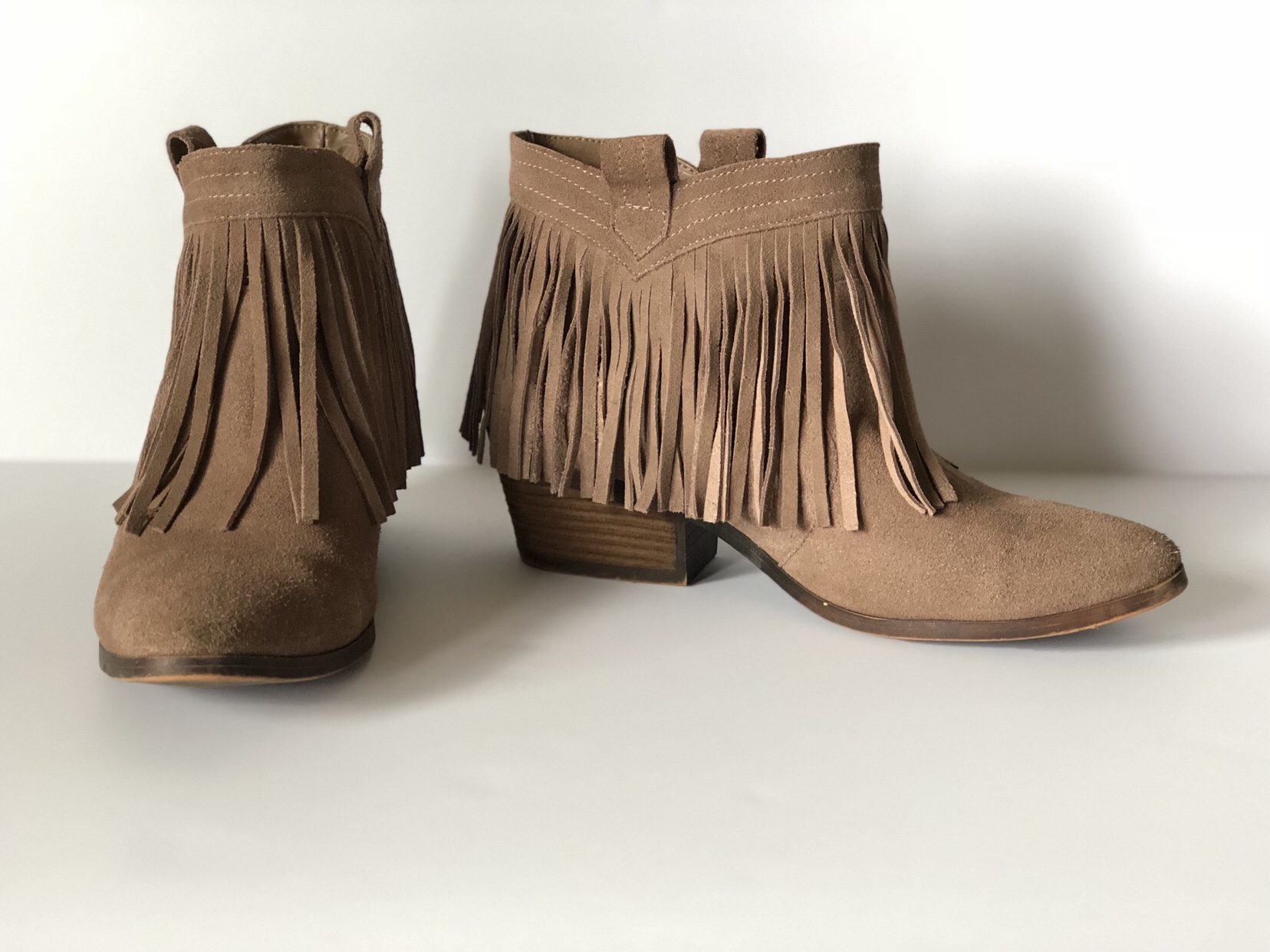 Brown low cut fringe bootie