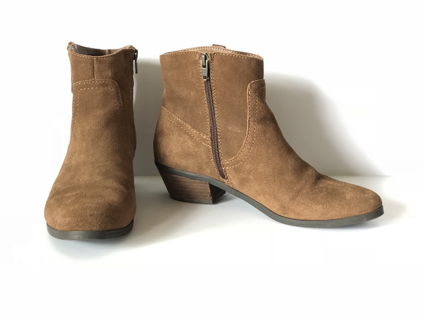 Round toe brown suede ankle bootie with zipper side