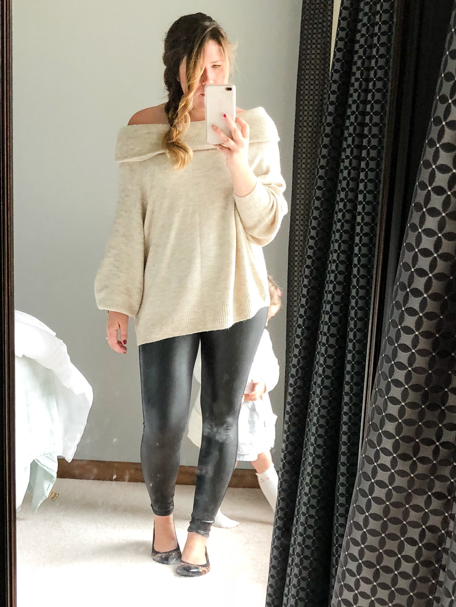 Spanx faux leather leggings with H&M cozy off the shoulder sweater and leopard flats