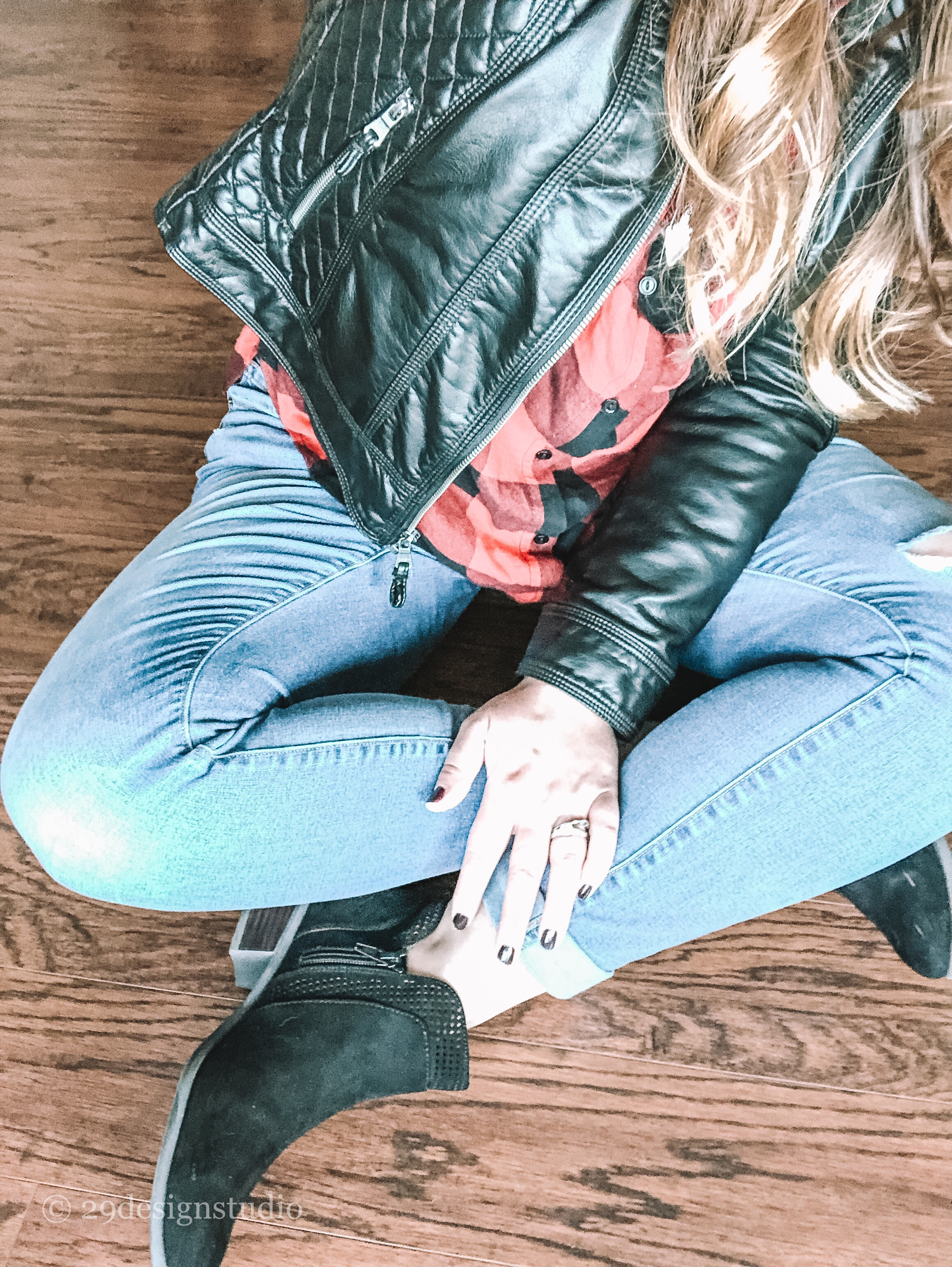 Distressed Rockstar jeans with old navy black booties red buffalo check shirt and faux quilted leather jacket