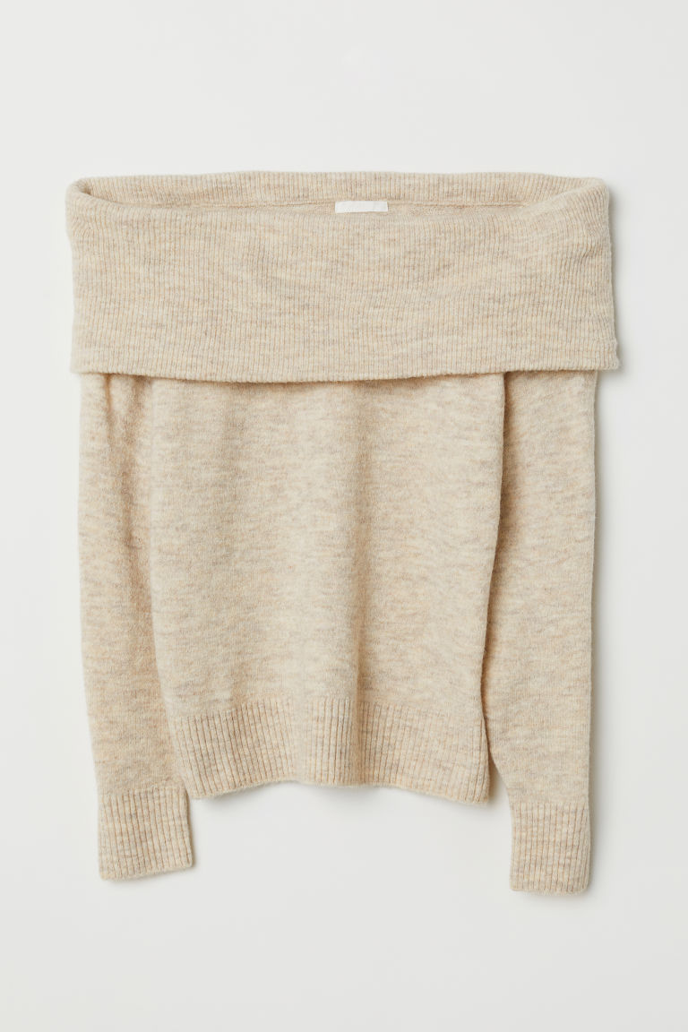 Slouchy Cozy Off the Shoulder Sweater H&M Beige Melange