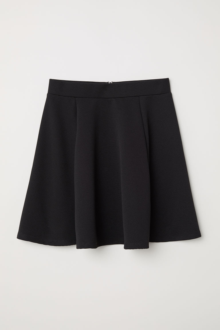 Black ribbed Circle Skirt H&M