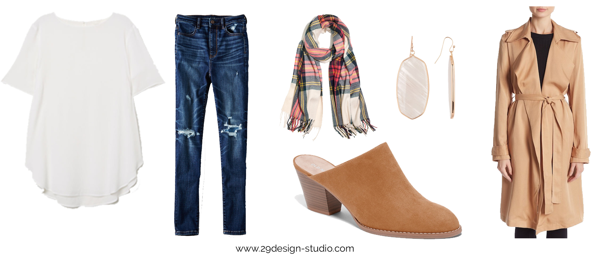 Creped Drapey Top with Destroyed Jeans Outfit Old Navy Mules Plaid Scarf Trench Coat Outfit