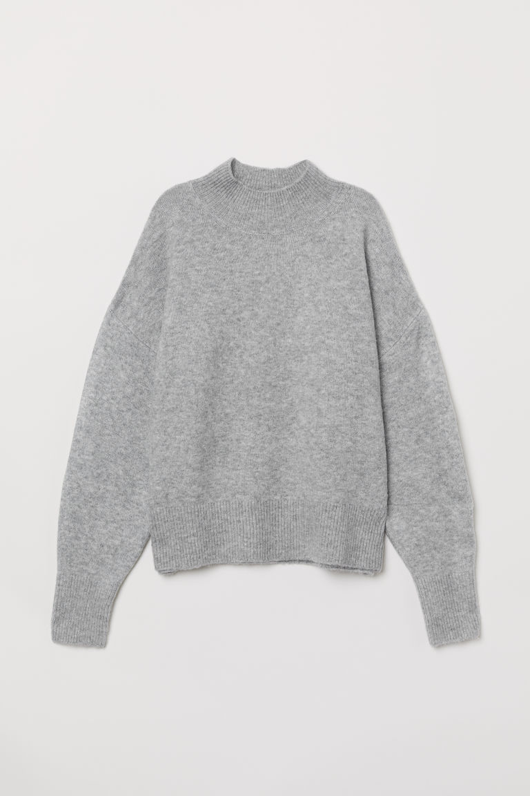 Cropped Balloon Sleeve Gray H&M Sweater