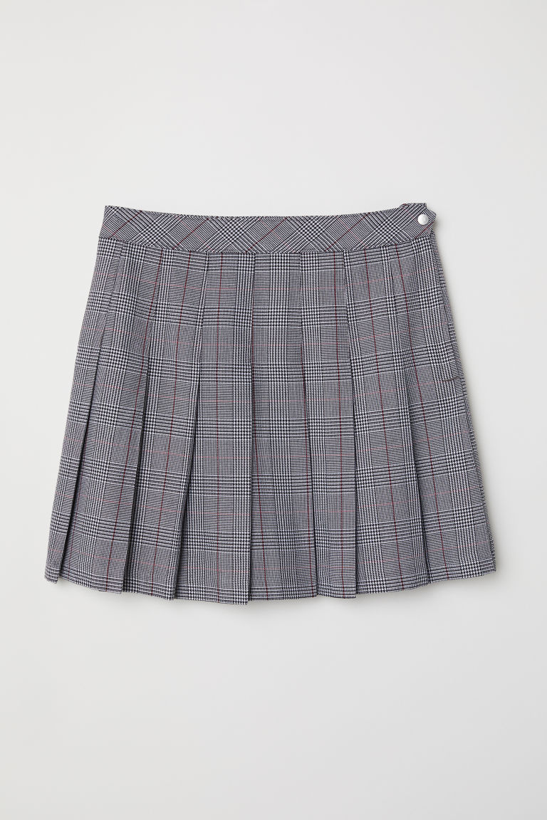 Pleated Plaid Gray Skirt H&M