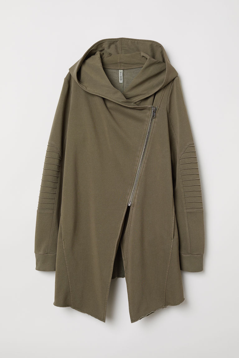 Olive Green Moto Hoodie Long Cardigan Sweatshirt