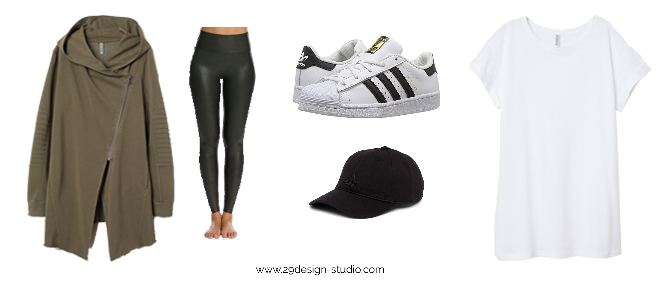 Athleisure Outfit with Spanx Faux Leather Leggings Moto Hoodie Adidas All Star Sneakers and Baseball cap