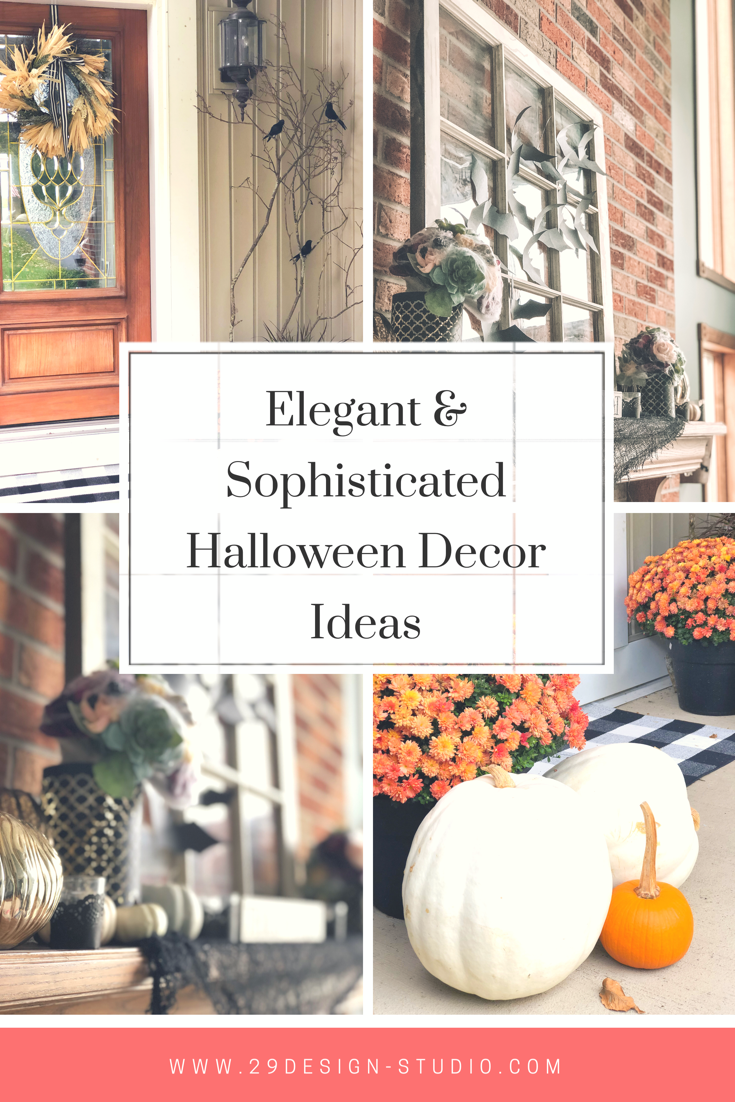 Collage of Halloween decor ideas for the front porch and mantle