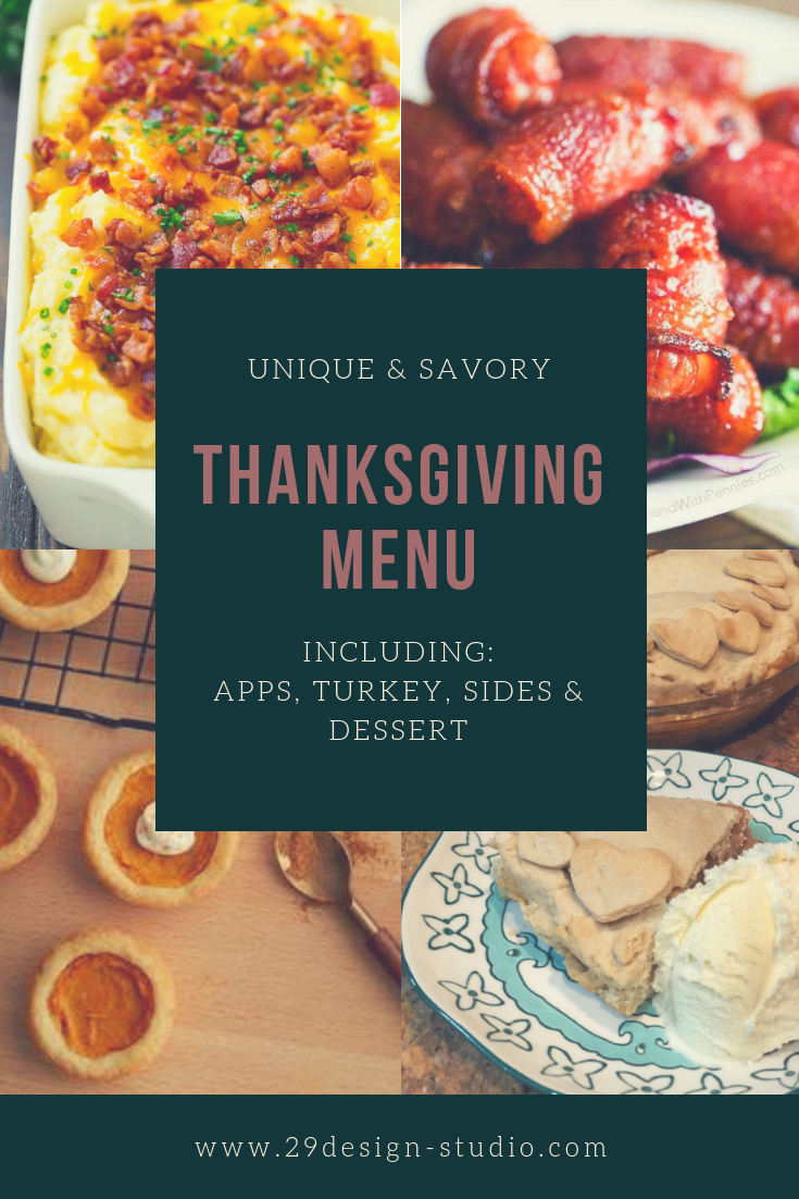 Thanksgiving Menu: Including Appetizers, Turkey, Side Dishes, and Desserts