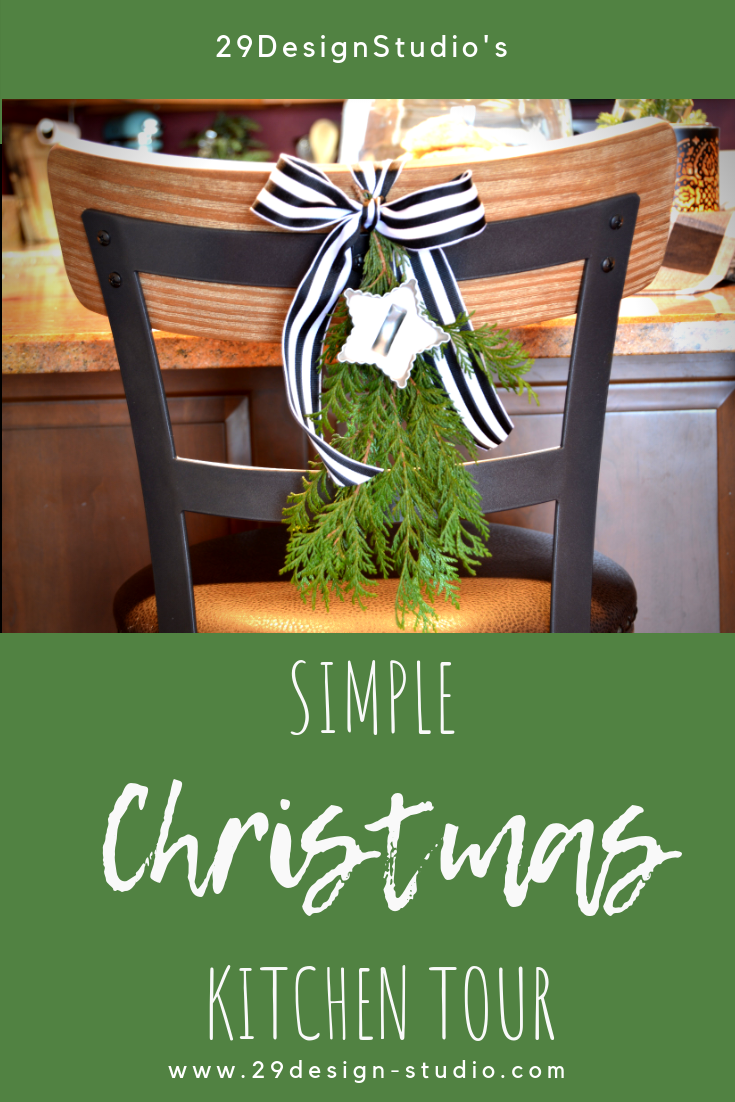 Simple Christmas Kitchen Tour: Black, White and Green Christmas Decor