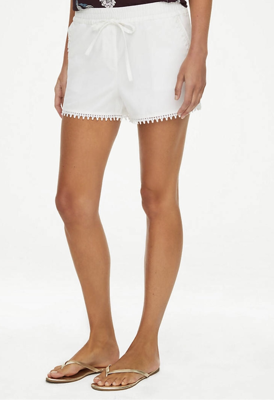 lace trim white shorts