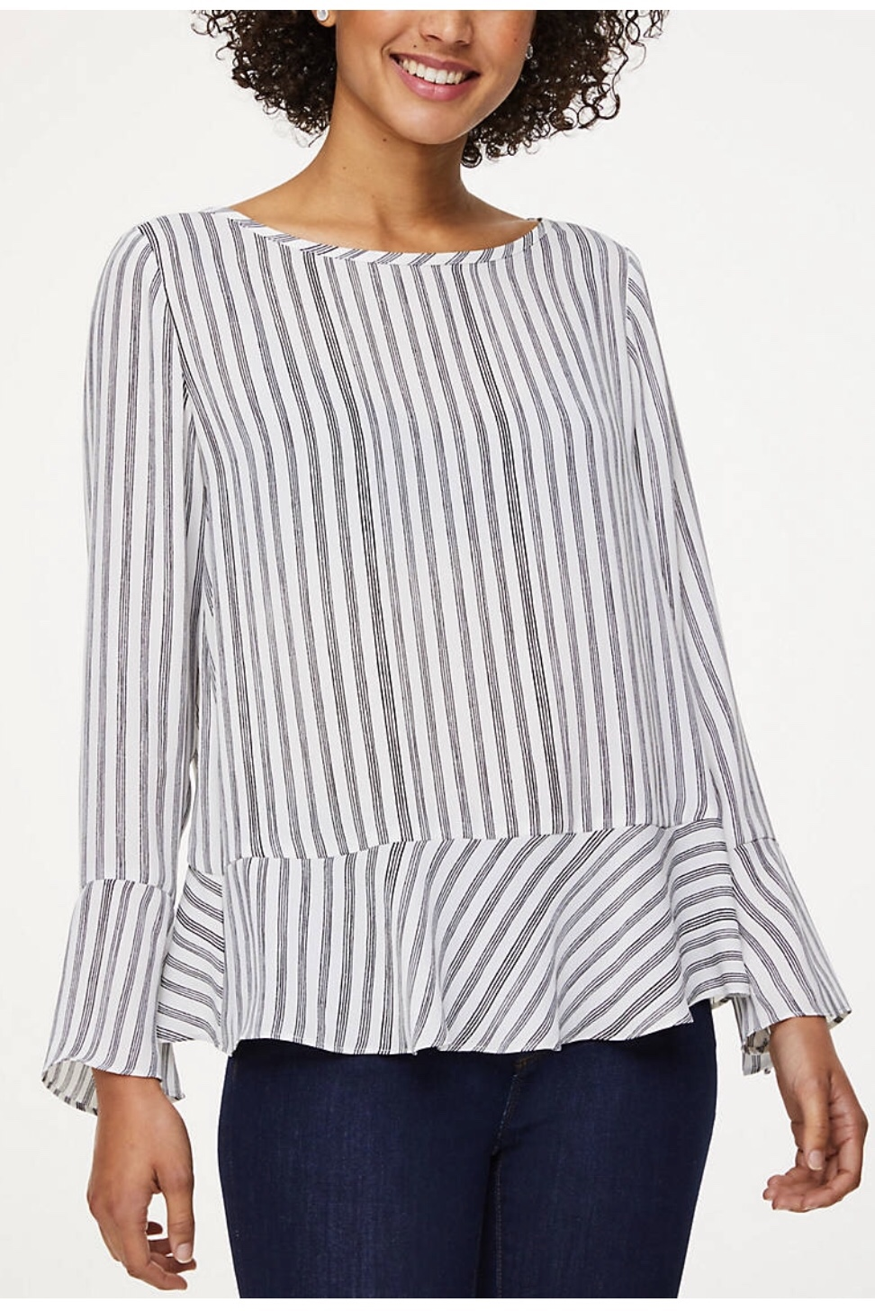 striped ruffle blouse