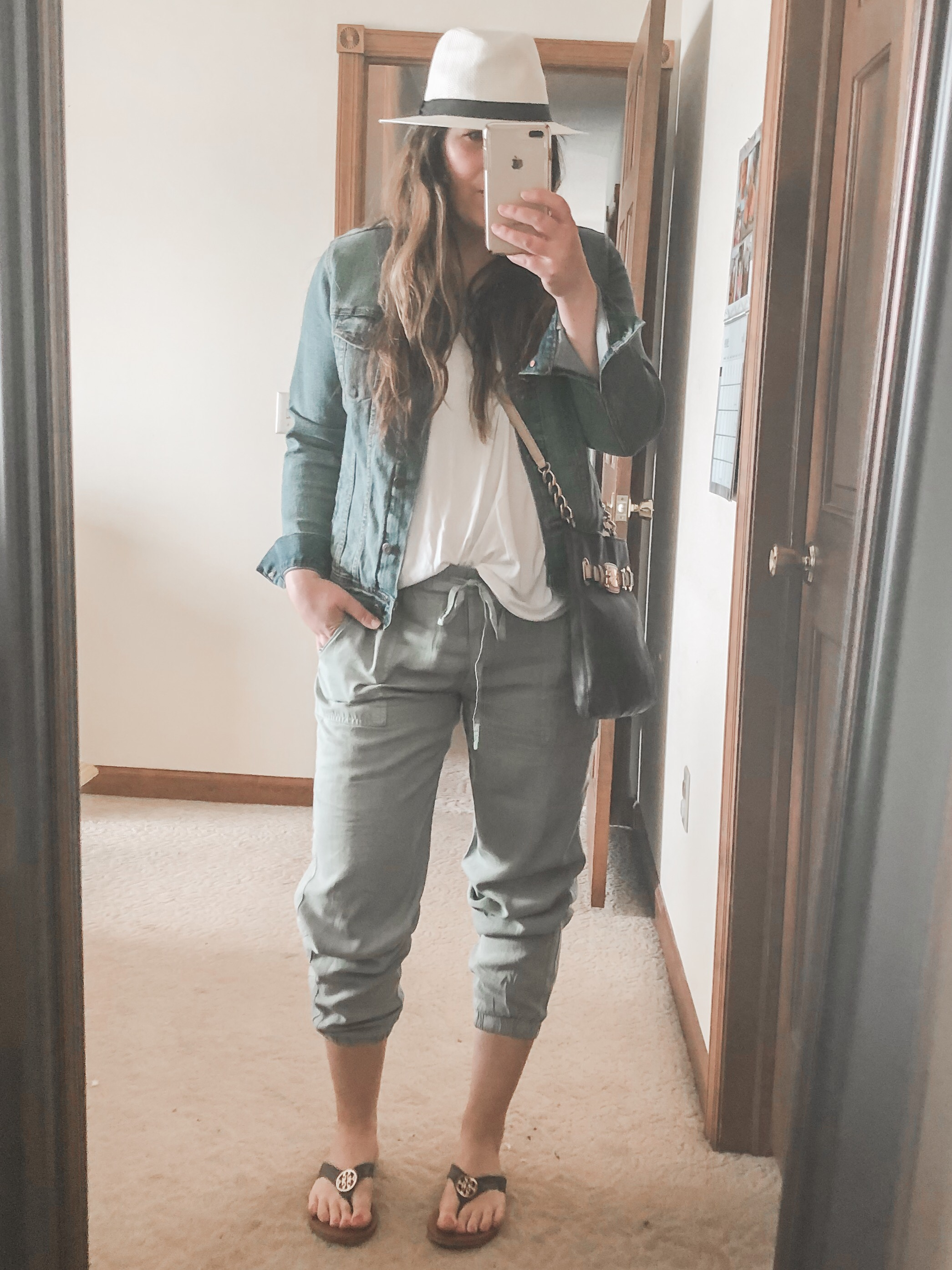 Summer joggers vacation outfit with flowy tank and denim jacket