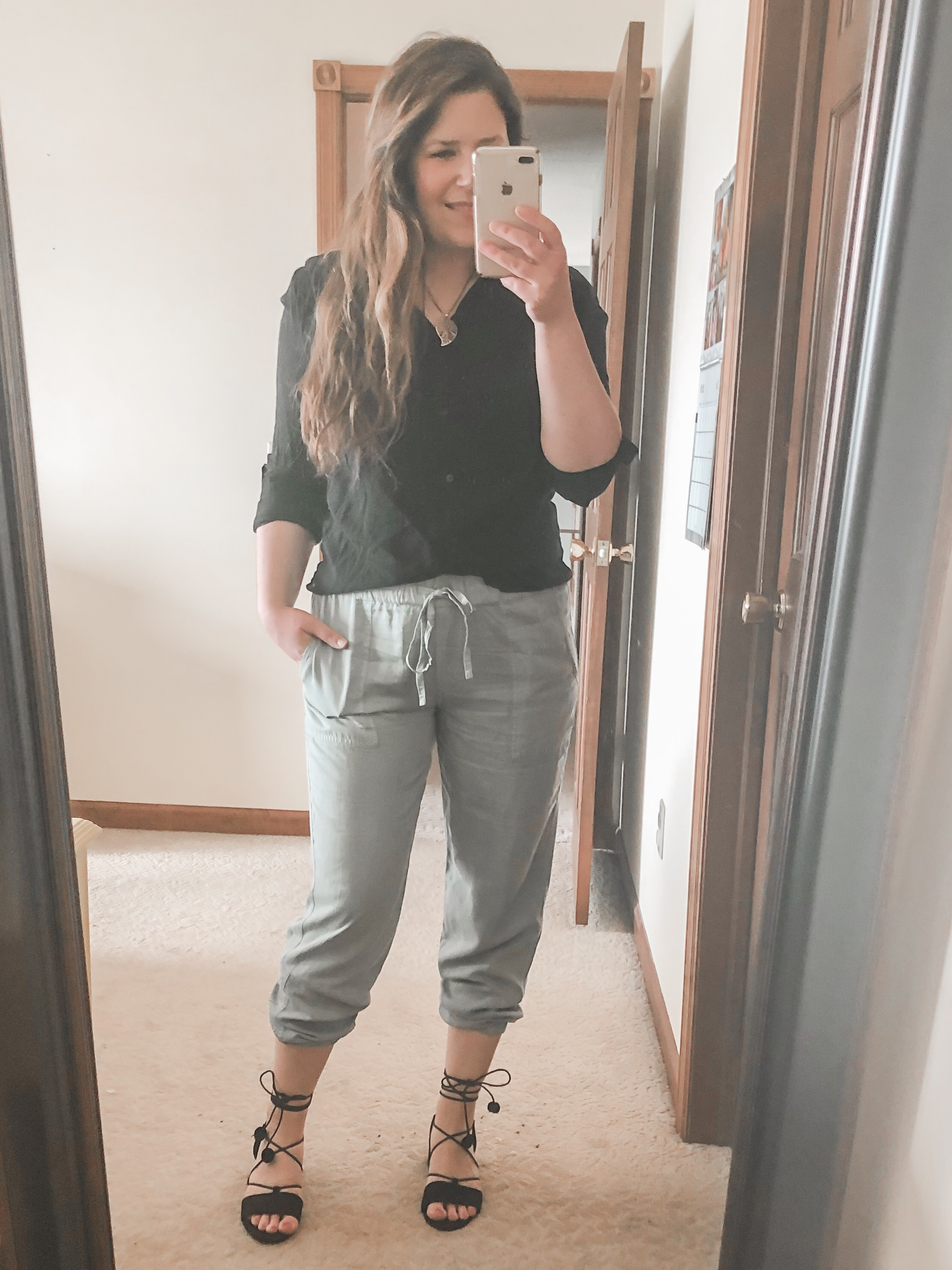 Linen joggers outfit with black ankle wrap heels