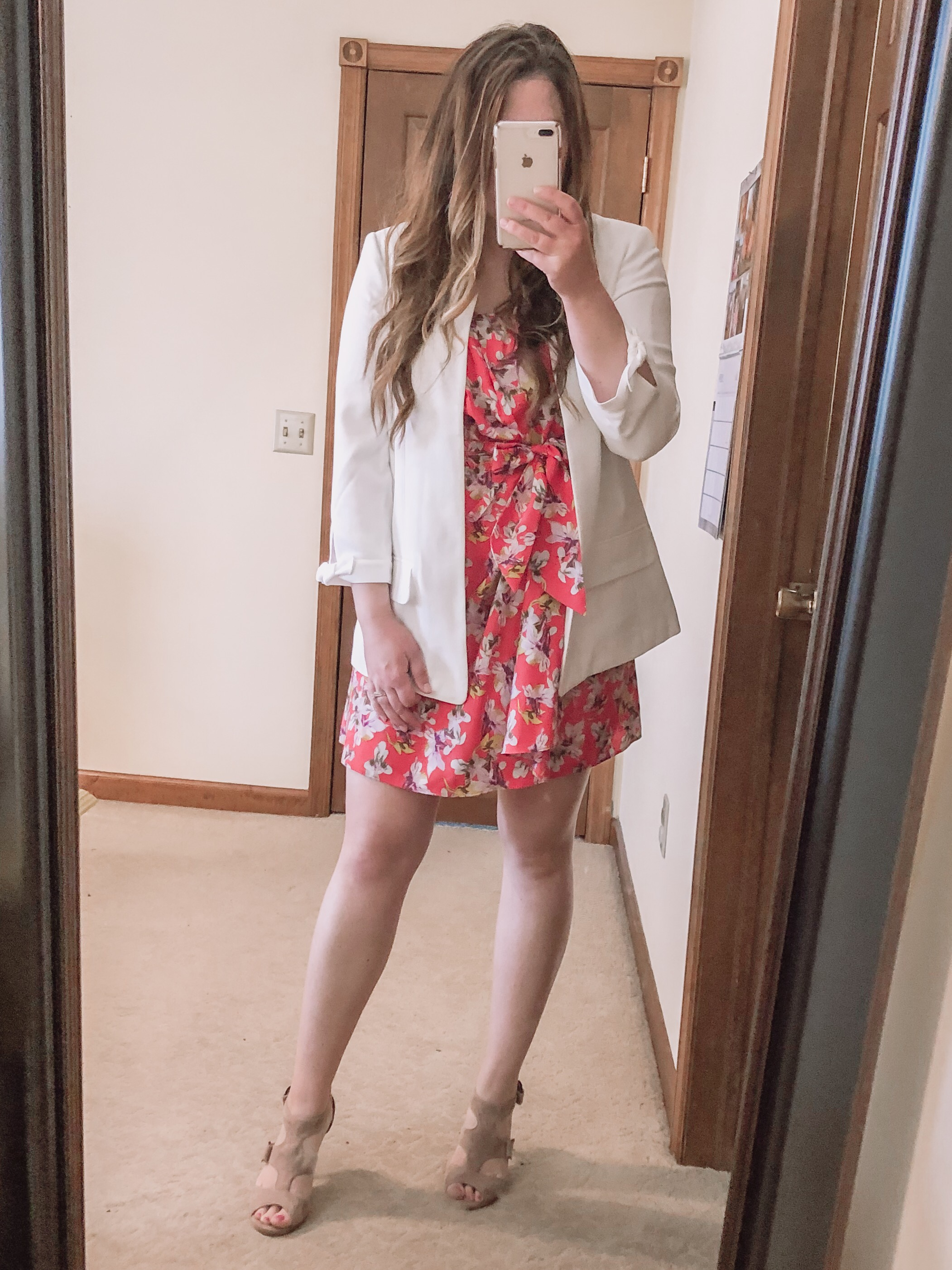 White blazer summer spring outfit with floral mini dress wedding guest outfit idea, bridal shower guest outfit, baby shower guest outfit