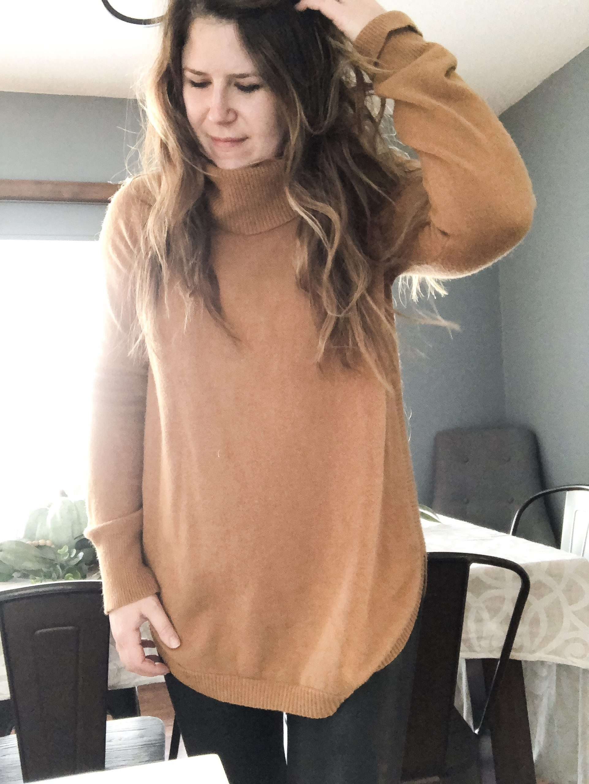 Rust copper turtleneck sweater with SPANX faux leather leggings
